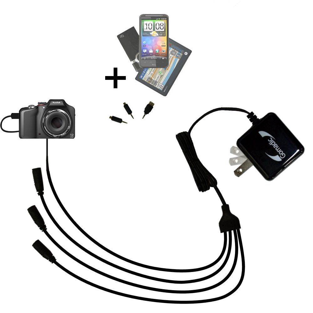 Quad output Wall Charger includes tip for the Kodak EasyShare Max