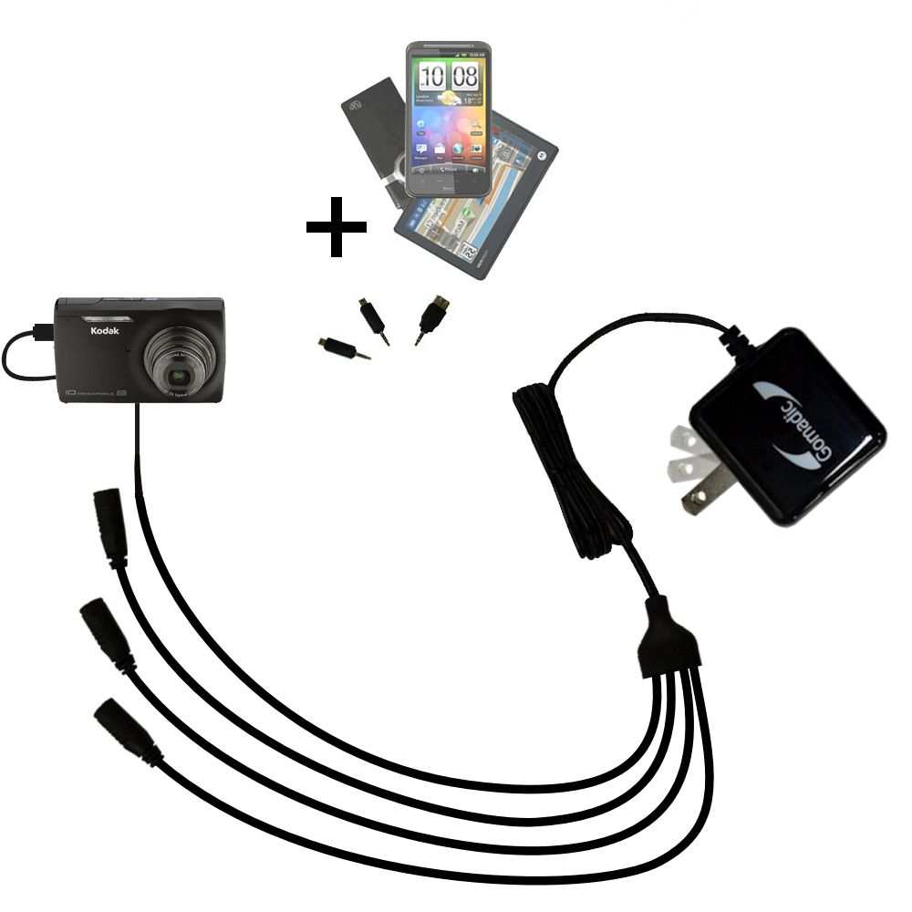 Quad output Wall Charger includes tip for the Kodak M1093 IS