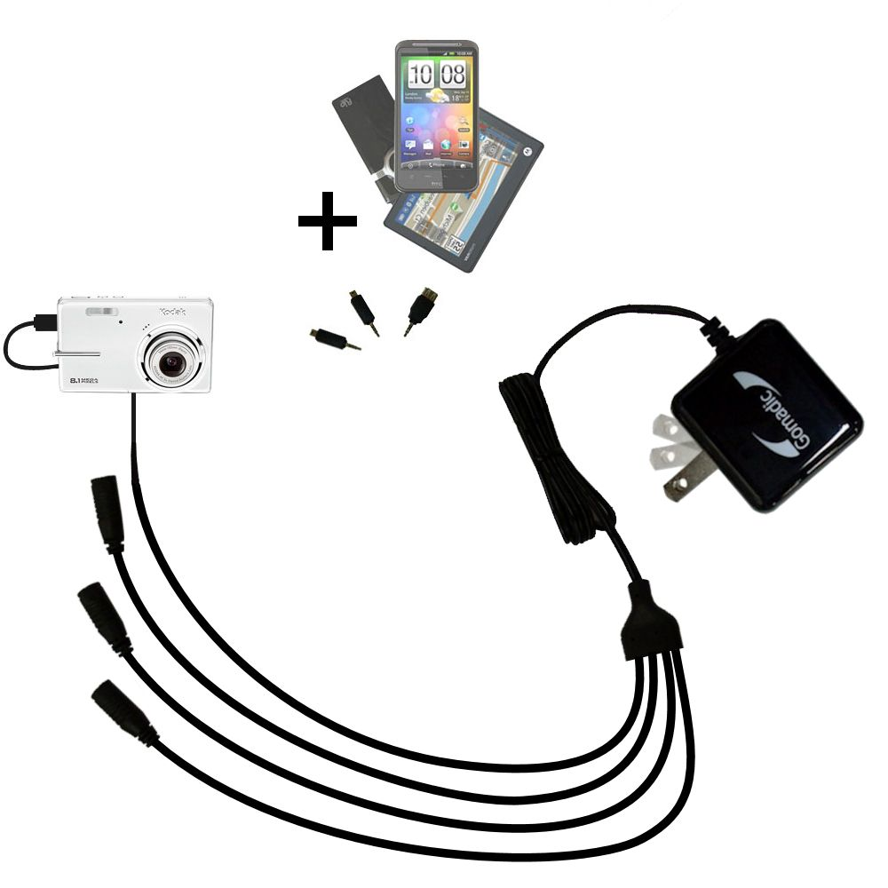 Quad output Wall Charger includes tip for the Kodak M893 IS