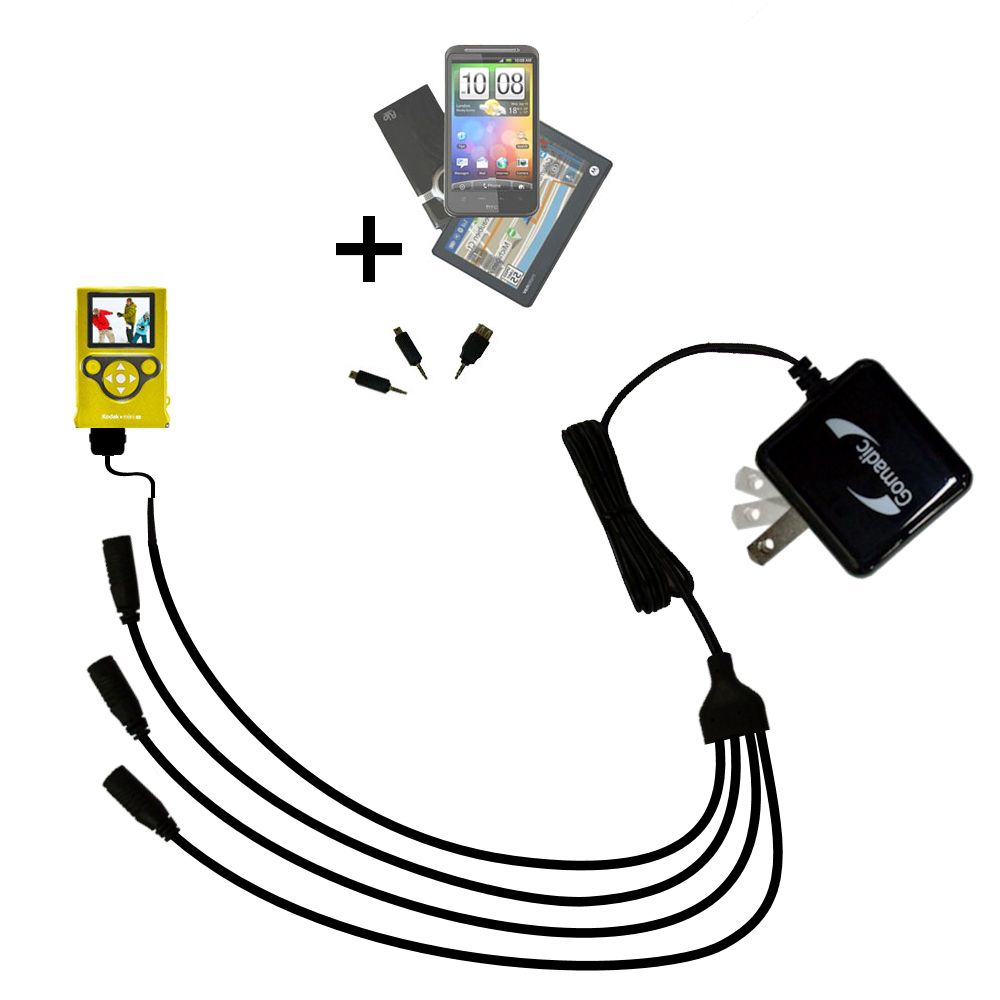 Quad output Wall Charger includes tip for the Kodak Mini Video Camera