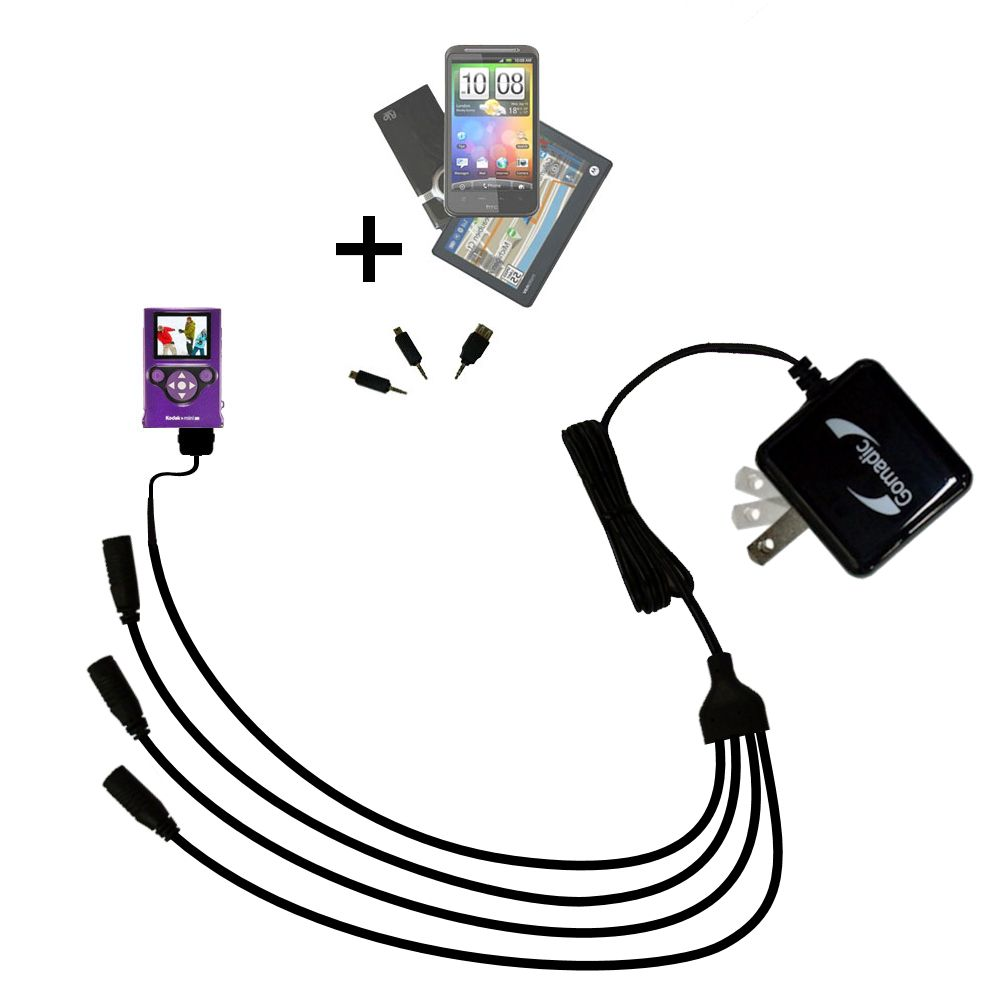 Quad output Wall Charger includes tip for the Kodak Zm2 Mini Video Camera