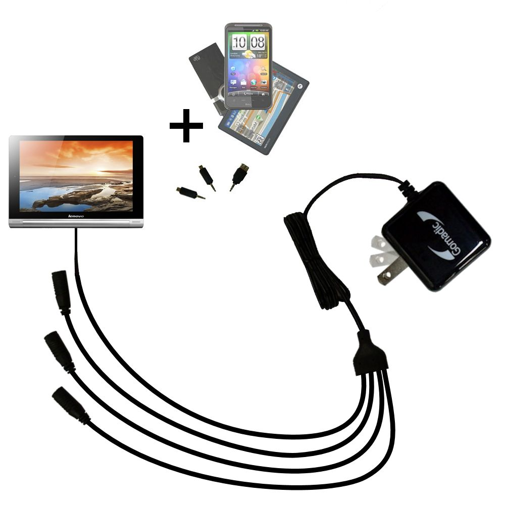 Quad output Wall Charger includes tip for the Lenovo Yoga 8 / Yoga 10