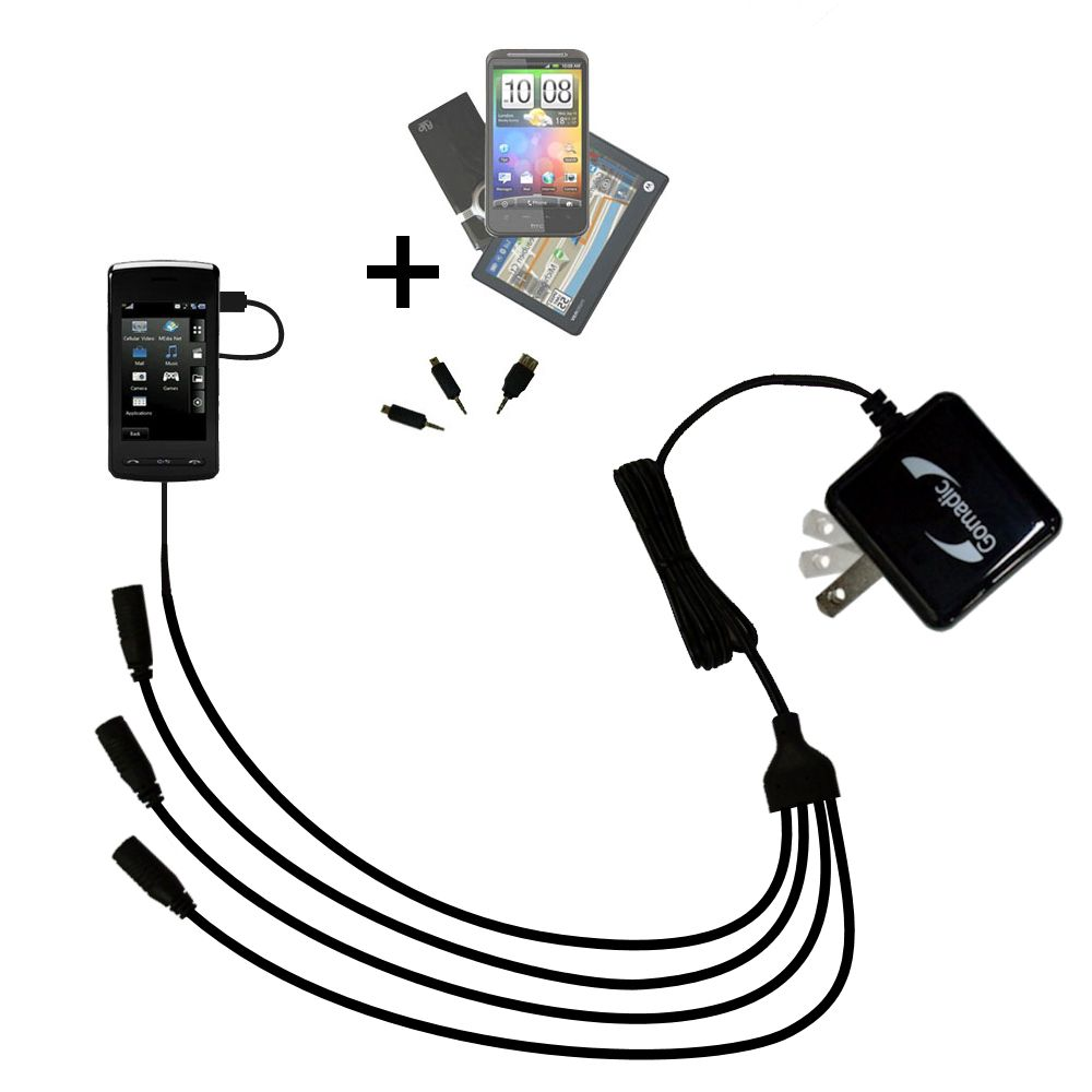 Quad output Wall Charger includes tip for the LG  KB770