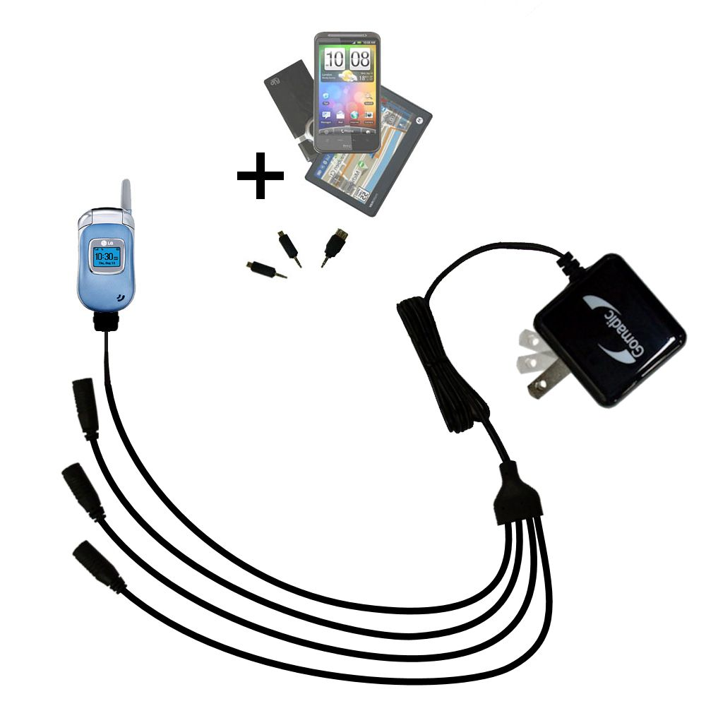 Quad output Wall Charger includes tip for the LG 3450
