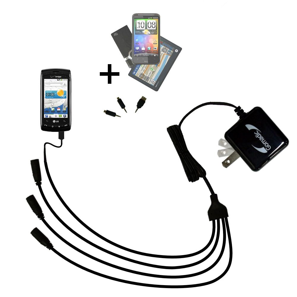 Quad output Wall Charger includes tip for the LG Ally