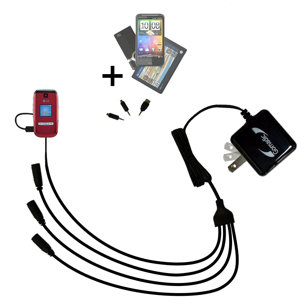 Quad output Wall Charger includes tip for the LG AX500