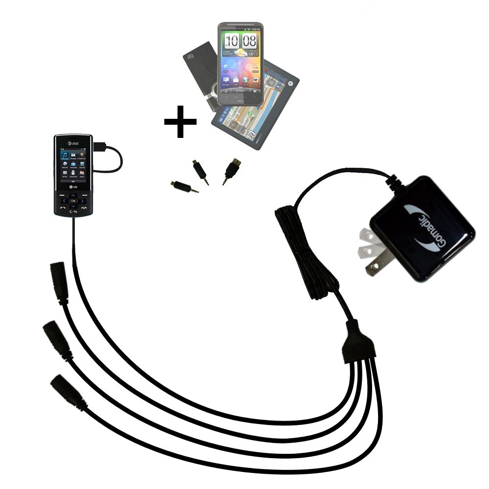 Quad output Wall Charger includes tip for the LG CF360
