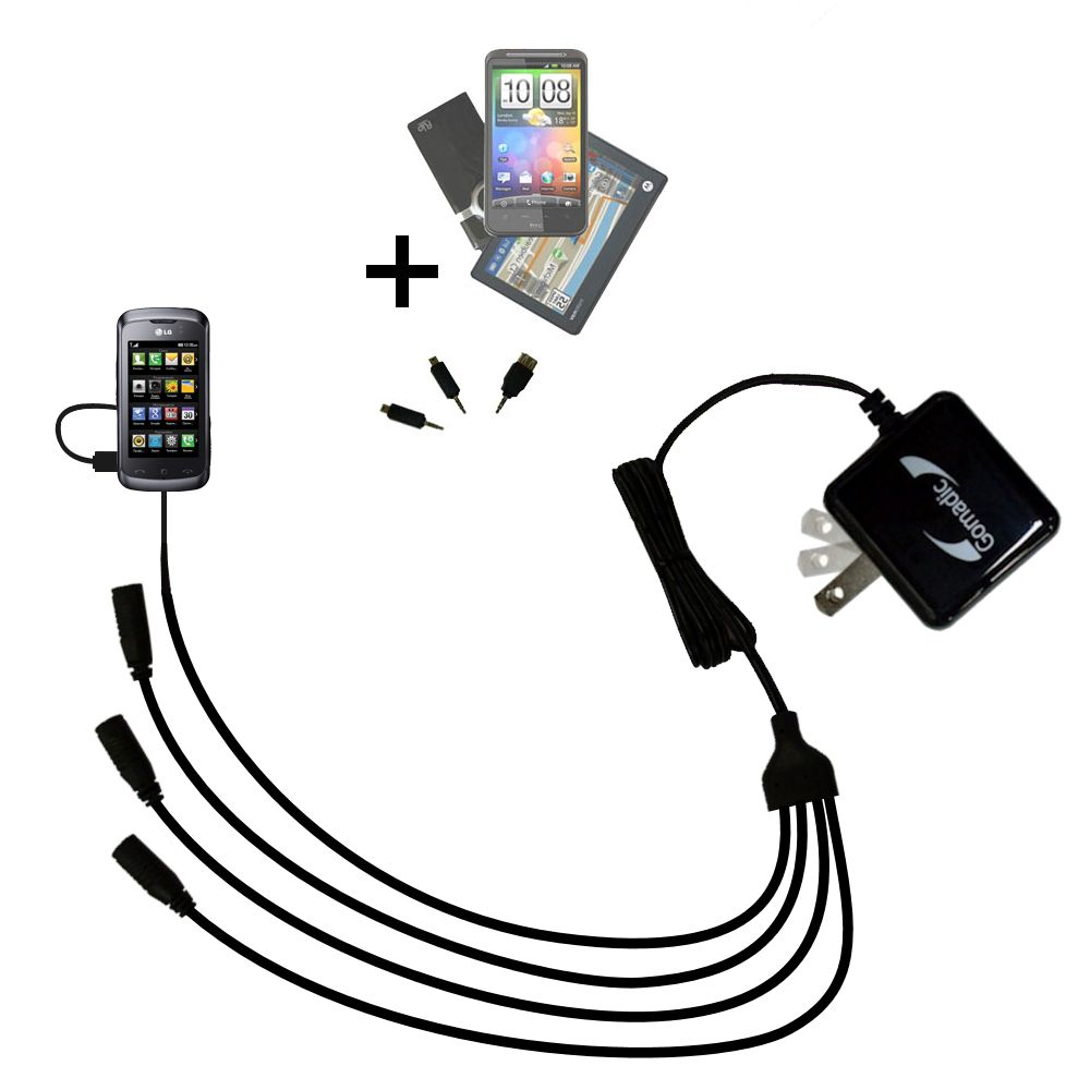Quad output Wall Charger includes tip for the LG Clubby