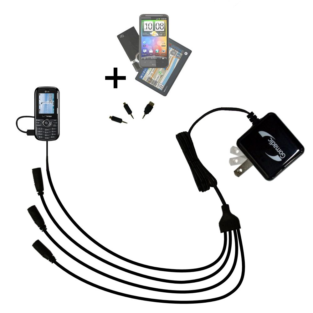 Quad output Wall Charger includes tip for the LG DARE