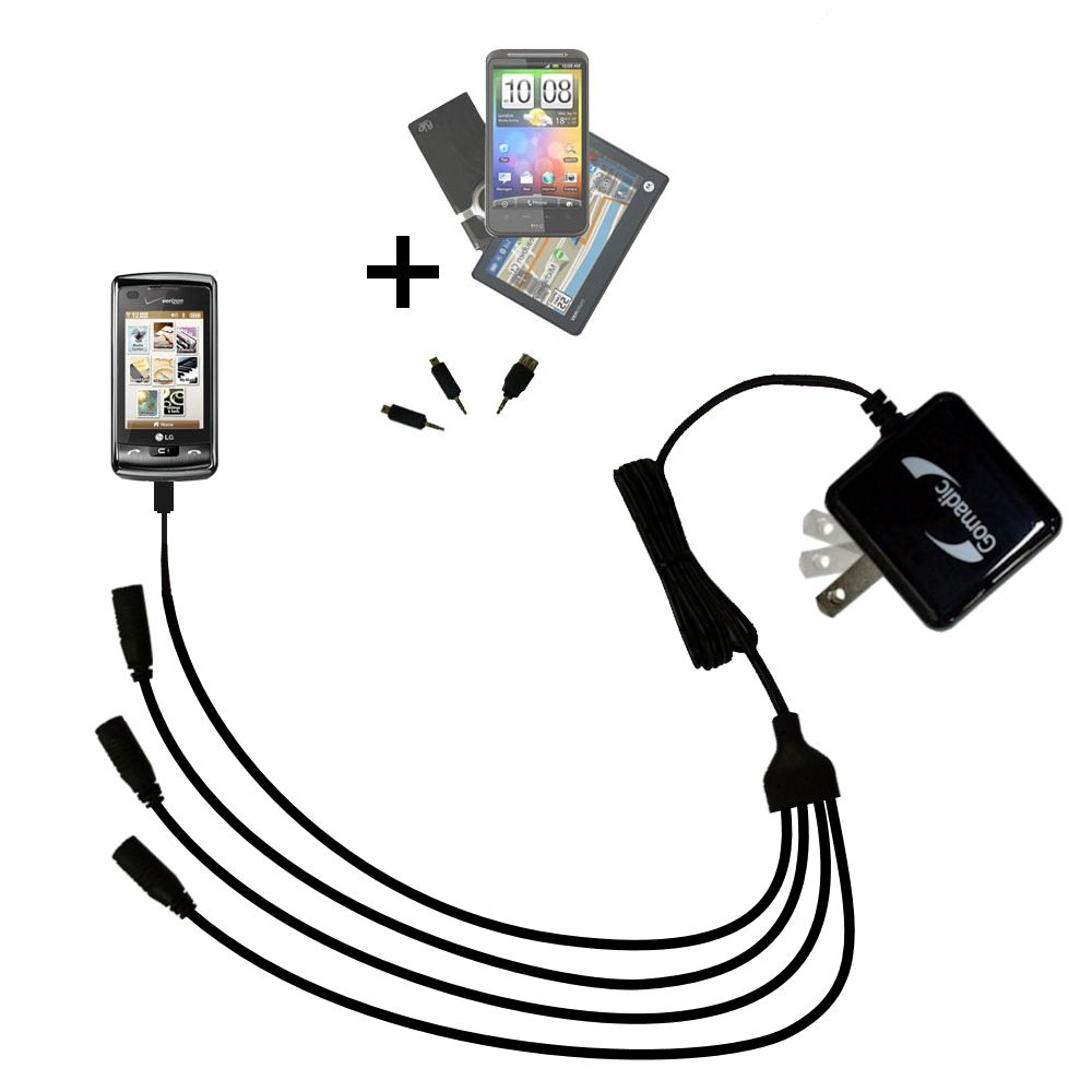 Quad output Wall Charger includes tip for the LG enV Touch
