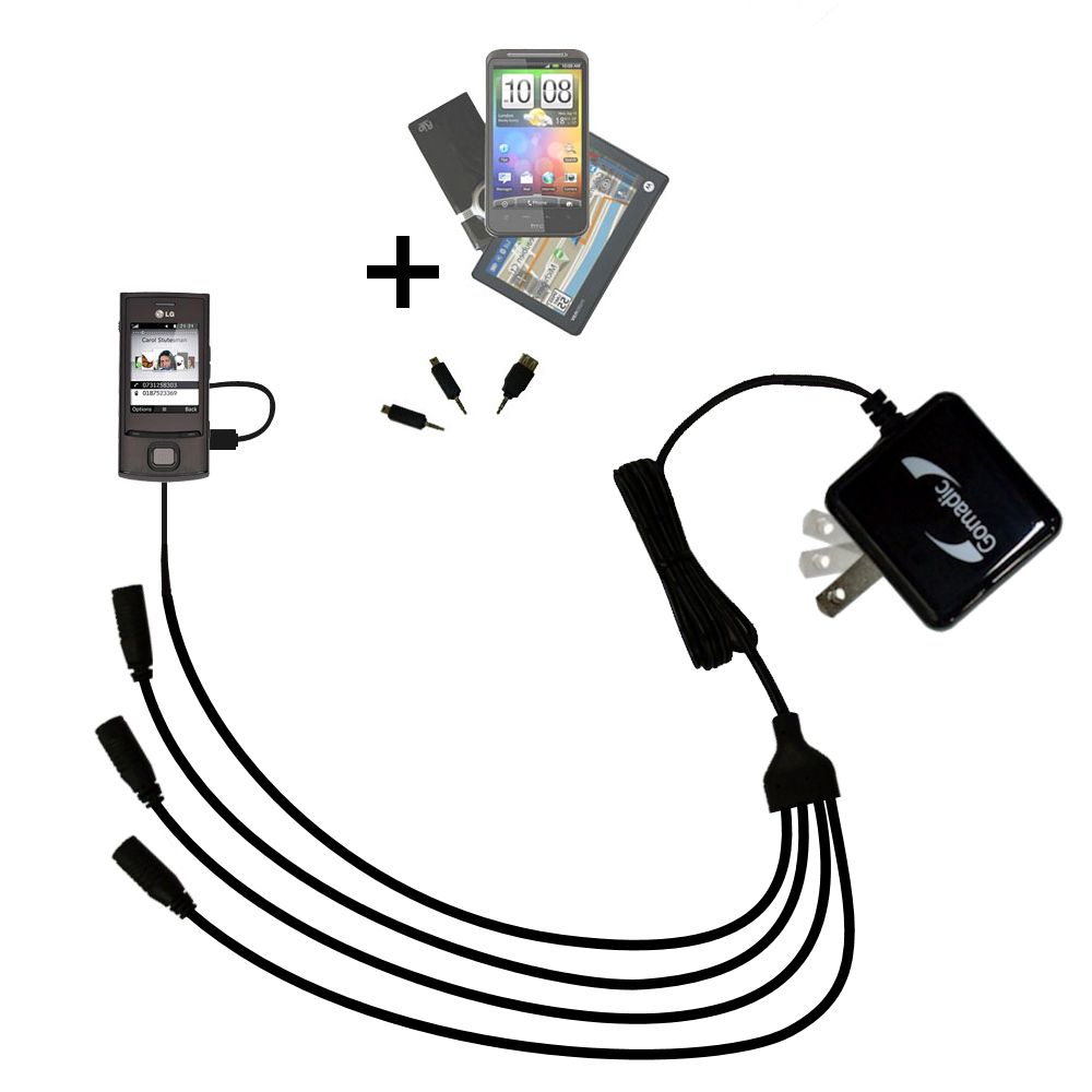 Quad output Wall Charger includes tip for the LG GD550