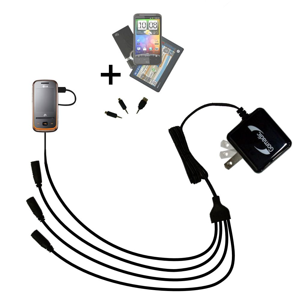 Quad output Wall Charger includes tip for the LG GM310