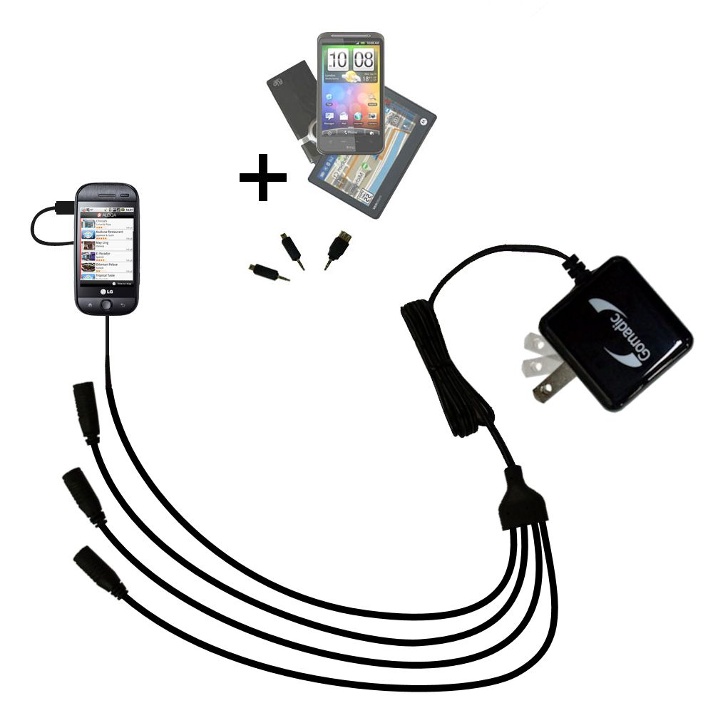 Quad output Wall Charger includes tip for the LG GW620