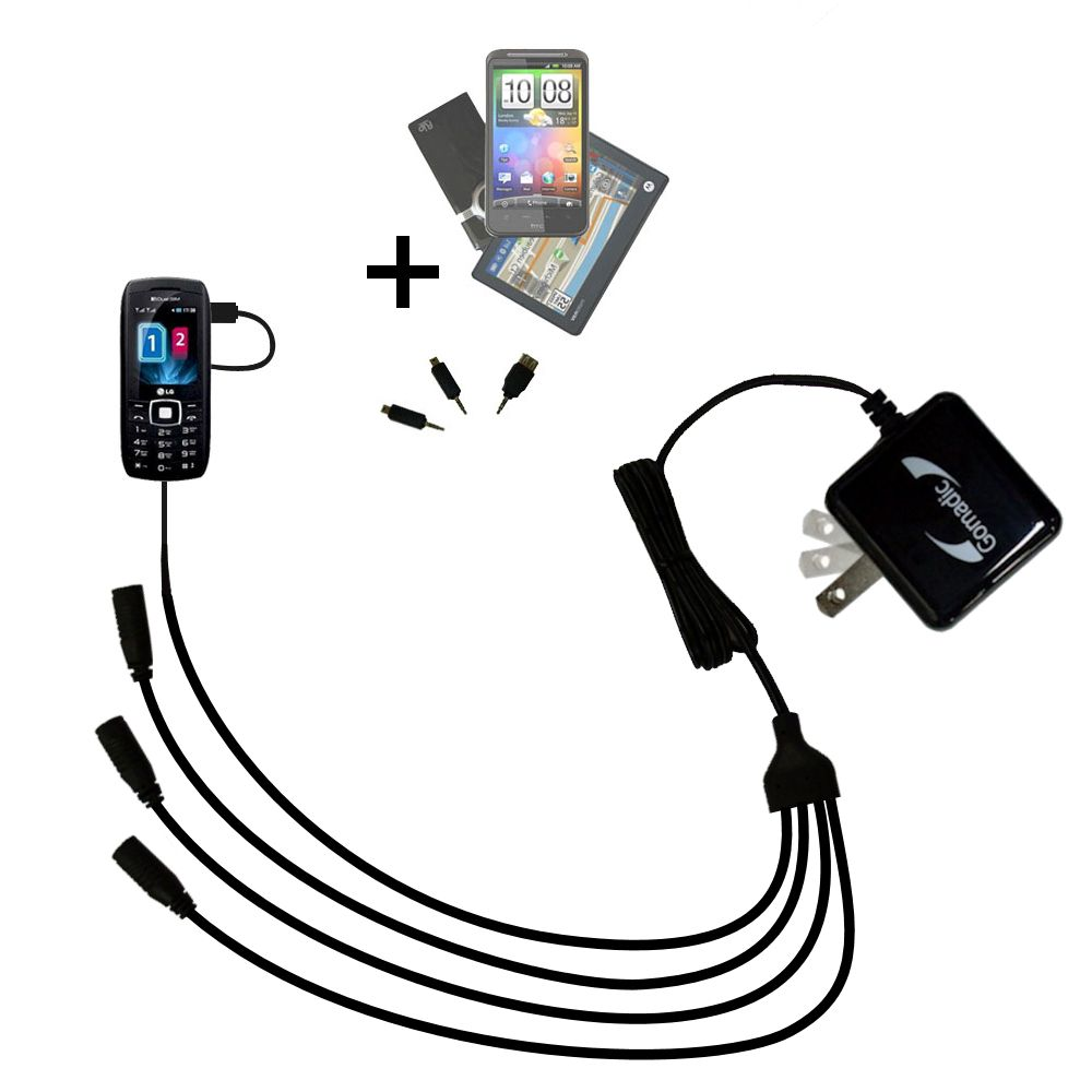 Quad output Wall Charger includes tip for the LG GX300