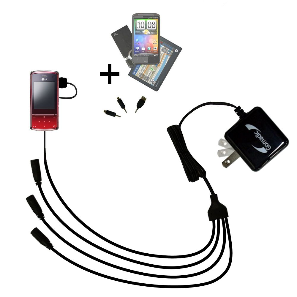 Quad output Wall Charger includes tip for the LG KF510 / KF-510