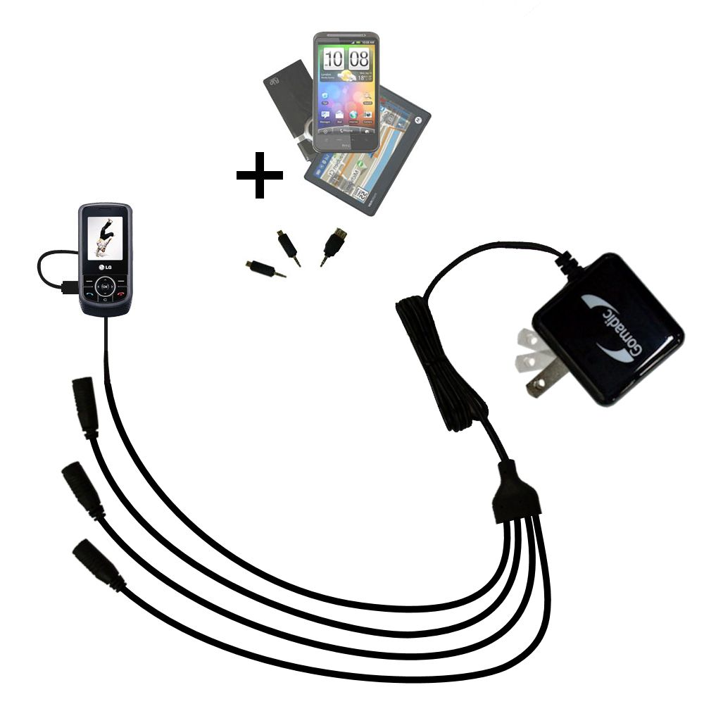 Quad output Wall Charger includes tip for the LG KP265