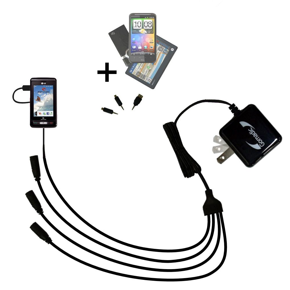 Quad output Wall Charger includes tip for the LG KP550 Rip Curl