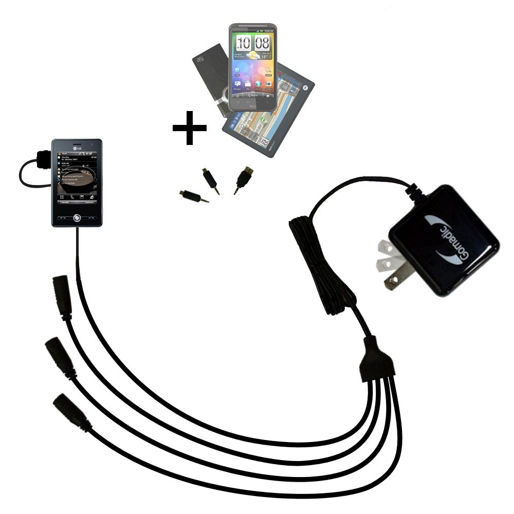 Quad output Wall Charger includes tip for the LG KS20