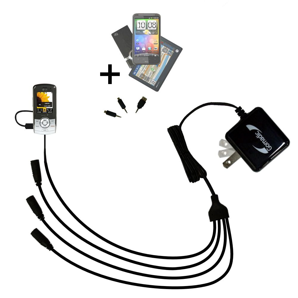 Quad output Wall Charger includes tip for the LG LX370