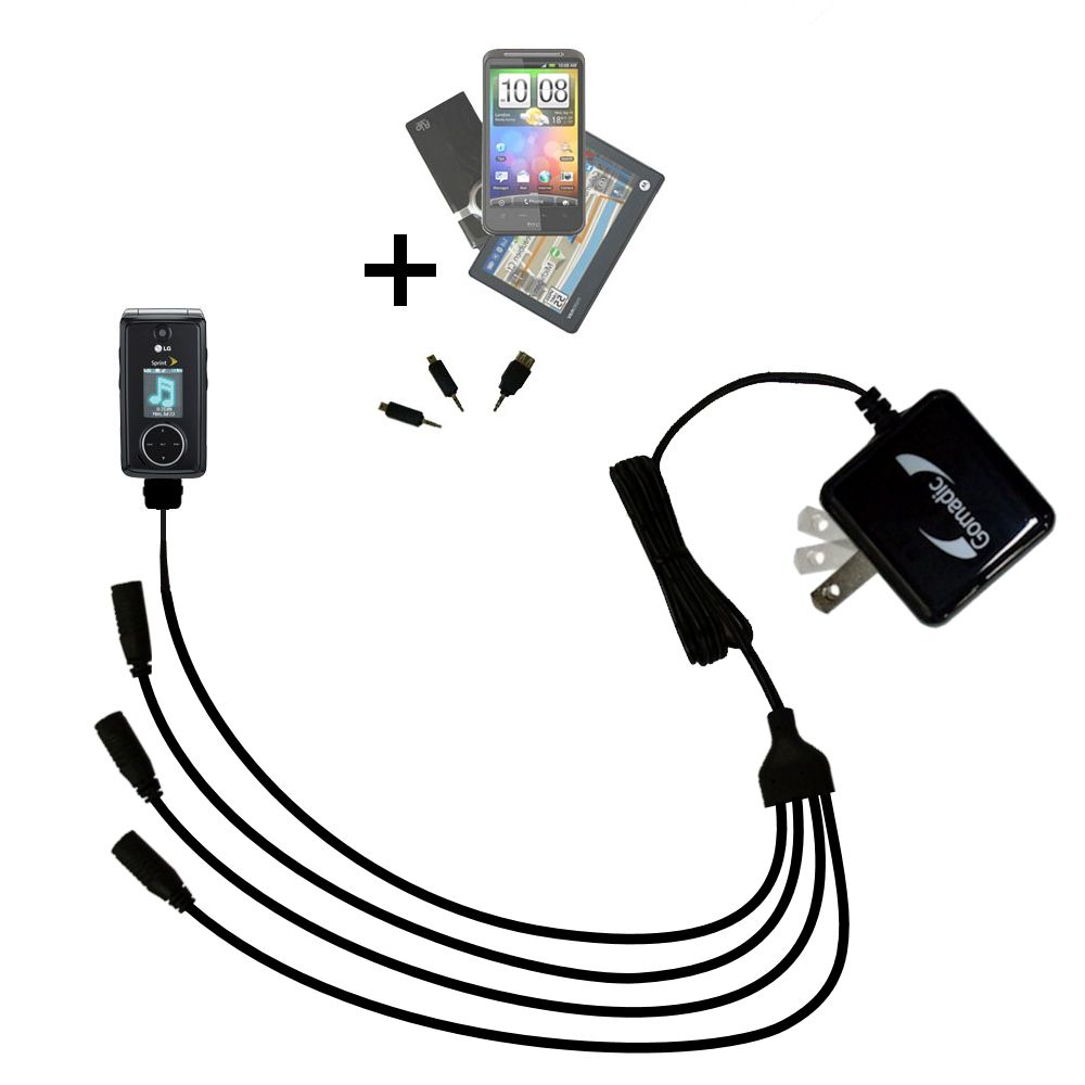 Quad output Wall Charger includes tip for the LG LX570 / LX-570