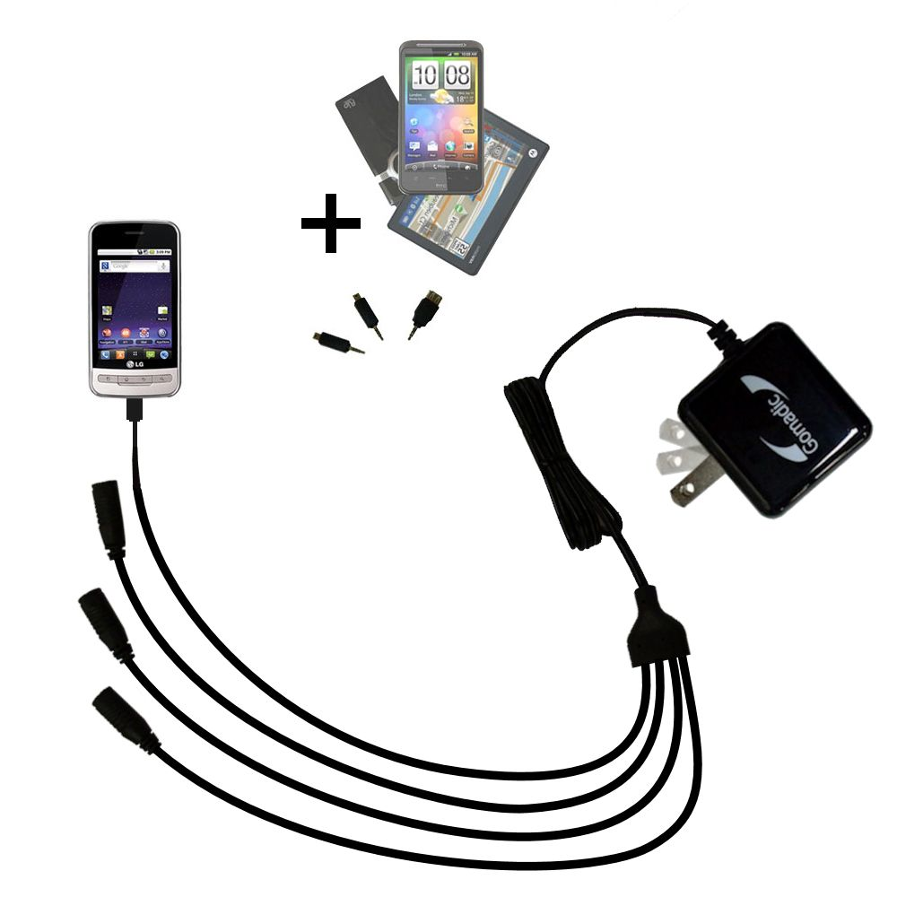 Quad output Wall Charger includes tip for the LG MS690