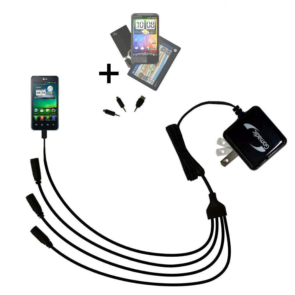 Quad output Wall Charger includes tip for the LG Optimus 2