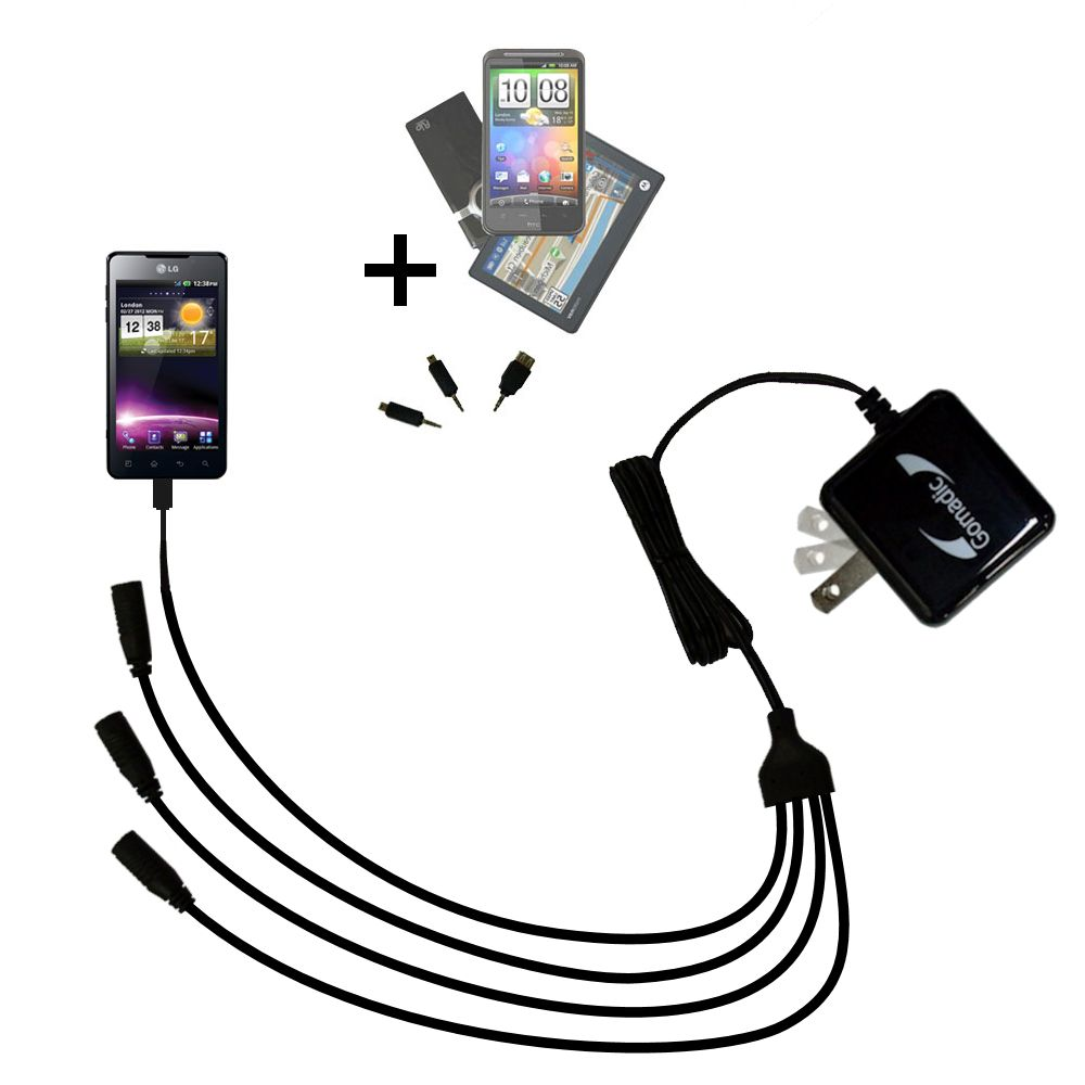 Quad output Wall Charger includes tip for the LG Optimus 3D Cube