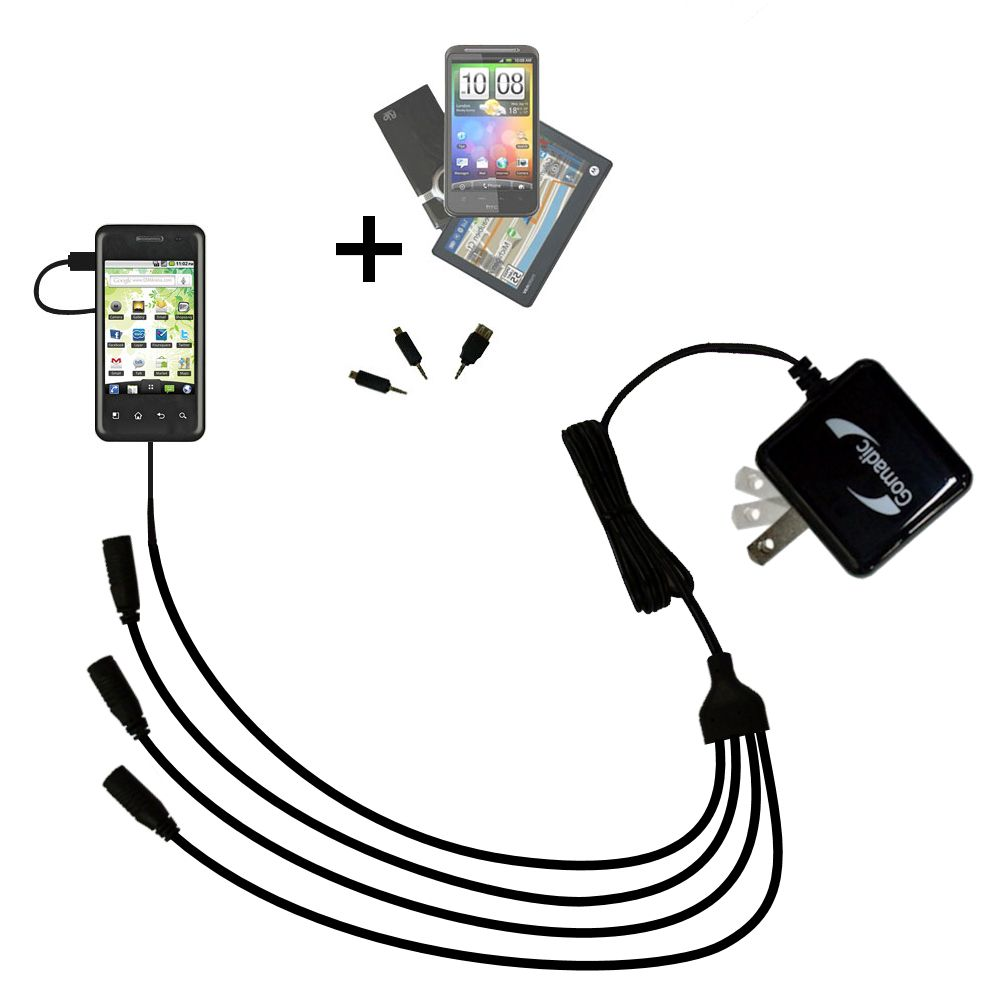 Quad output Wall Charger includes tip for the LG Optimus Chic