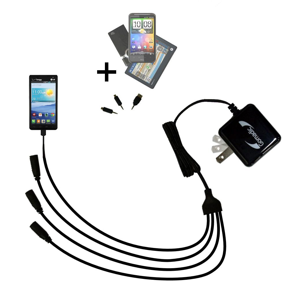 Quad output Wall Charger includes tip for the LG Optimus F3