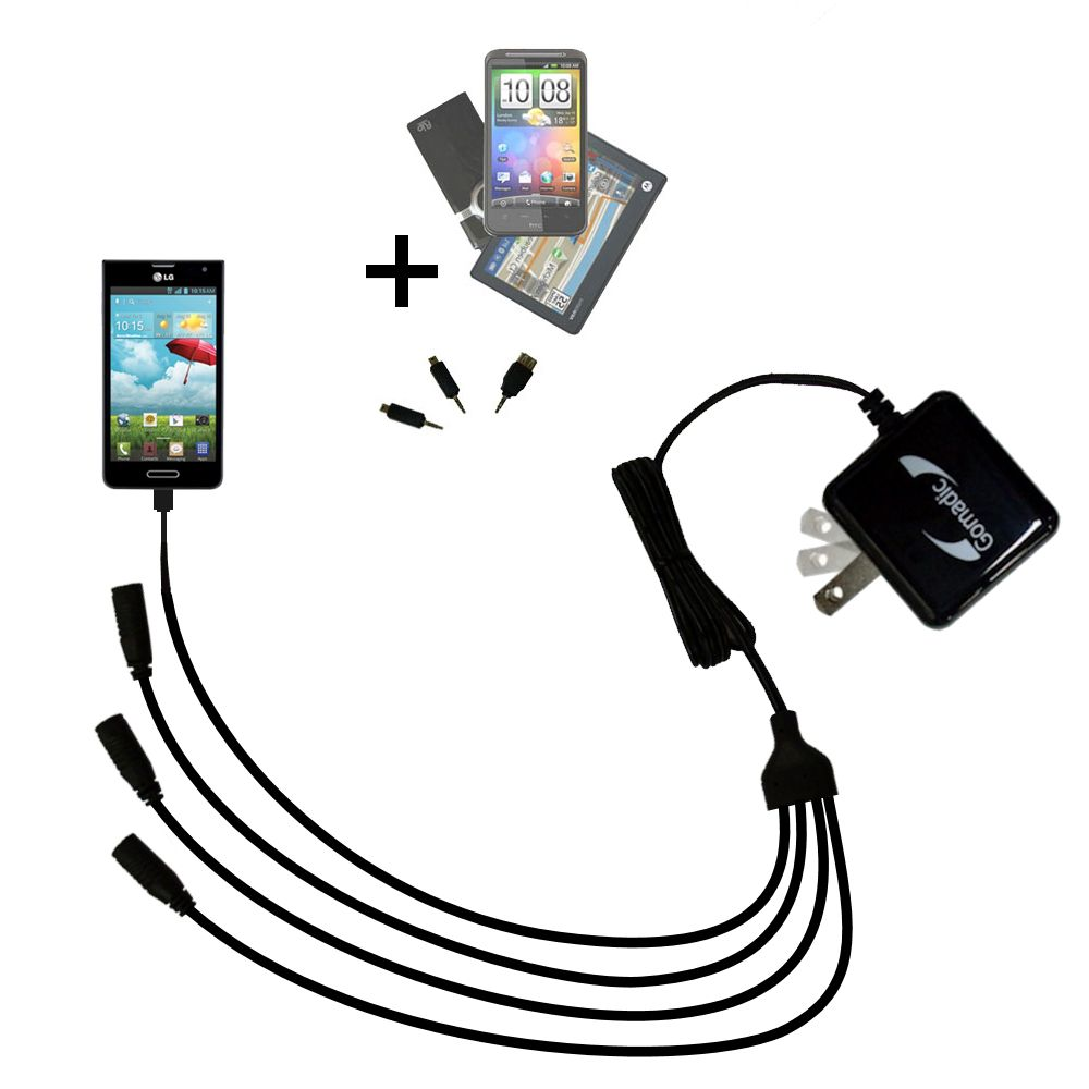 Quad output Wall Charger includes tip for the LG Optimus F6