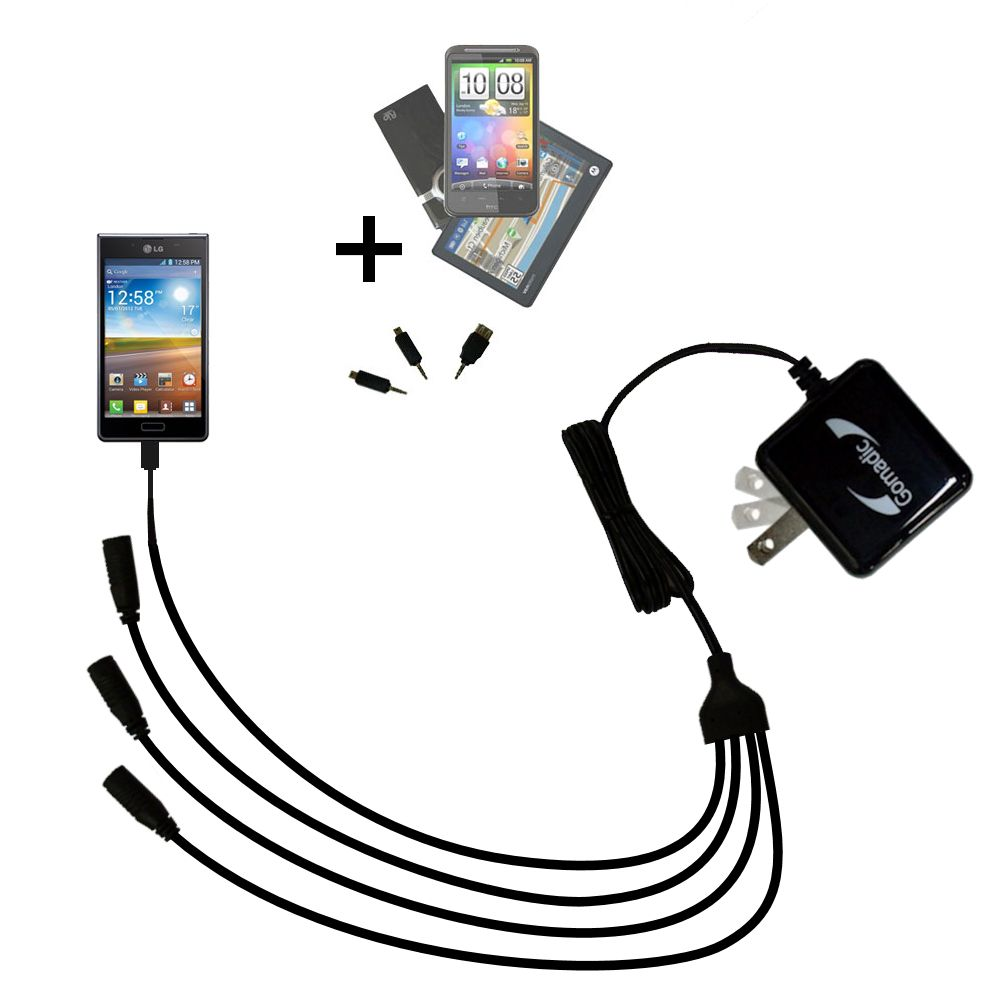 Quad output Wall Charger includes tip for the LG Optimus L7