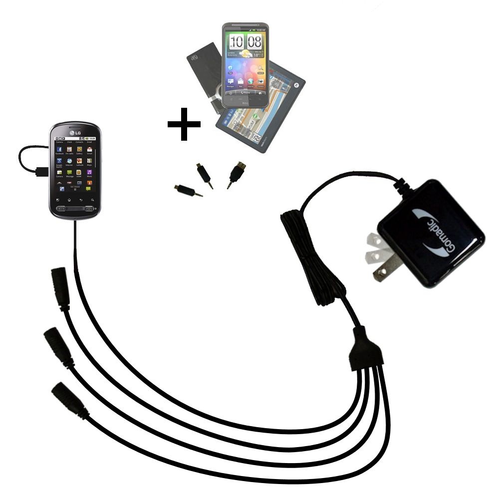 Quad output Wall Charger includes tip for the LG Optimus Me P350