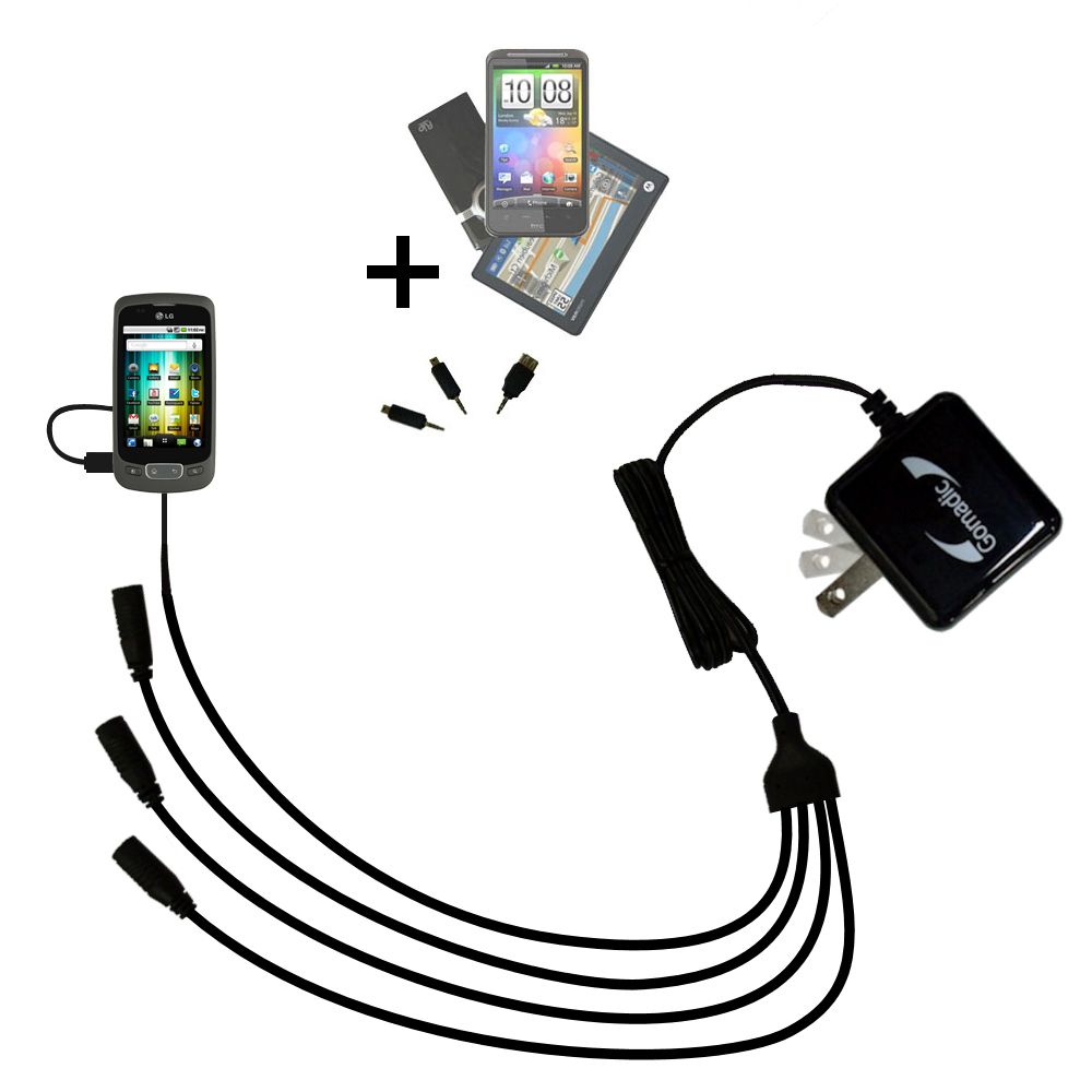 Quad output Wall Charger includes tip for the LG Optimus T