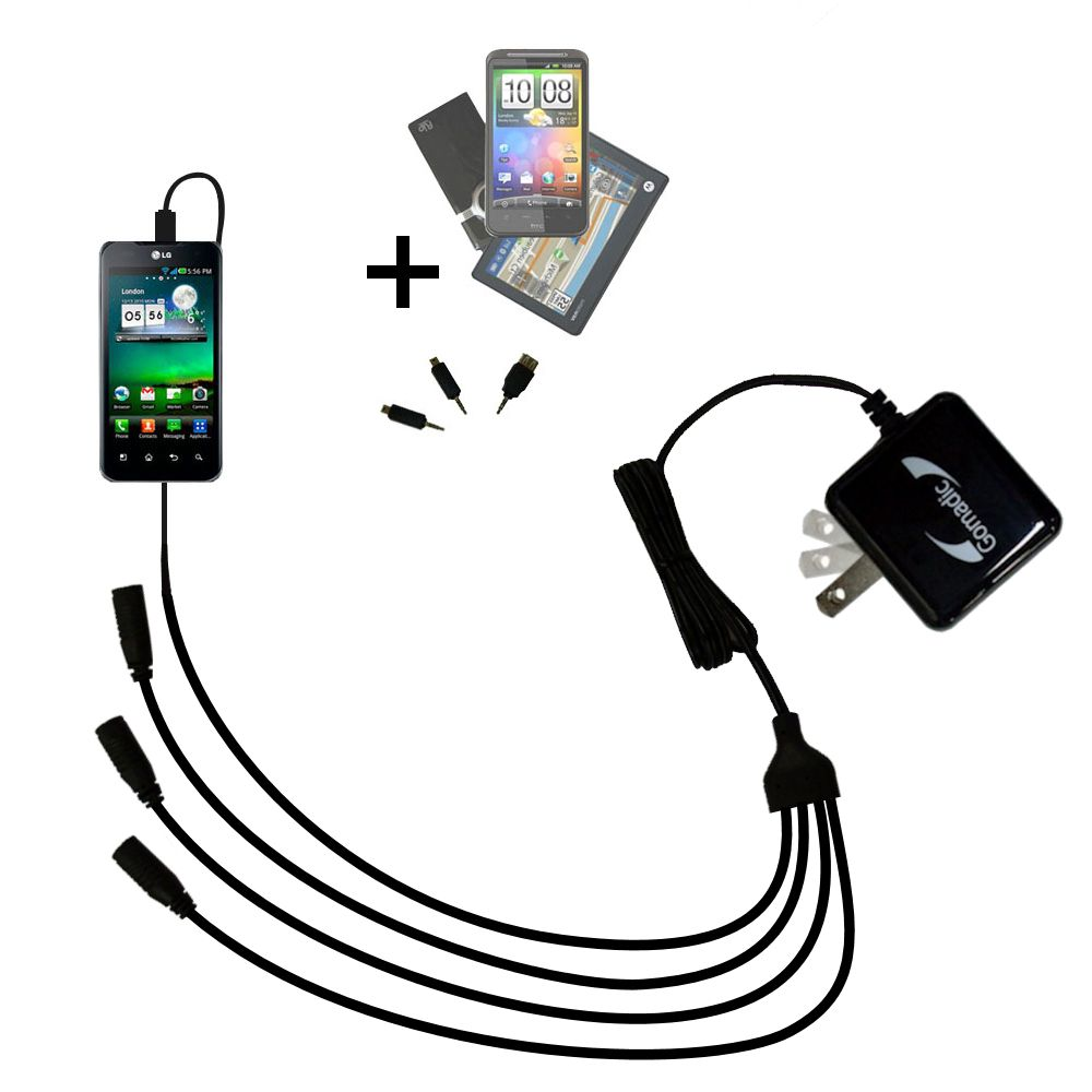 Quad output Wall Charger includes tip for the LG Optimus True HD