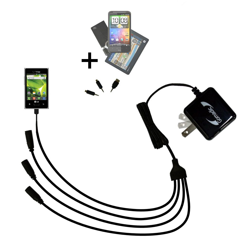 Quad output Wall Charger includes tip for the LG Optimus Zone 1 / 2