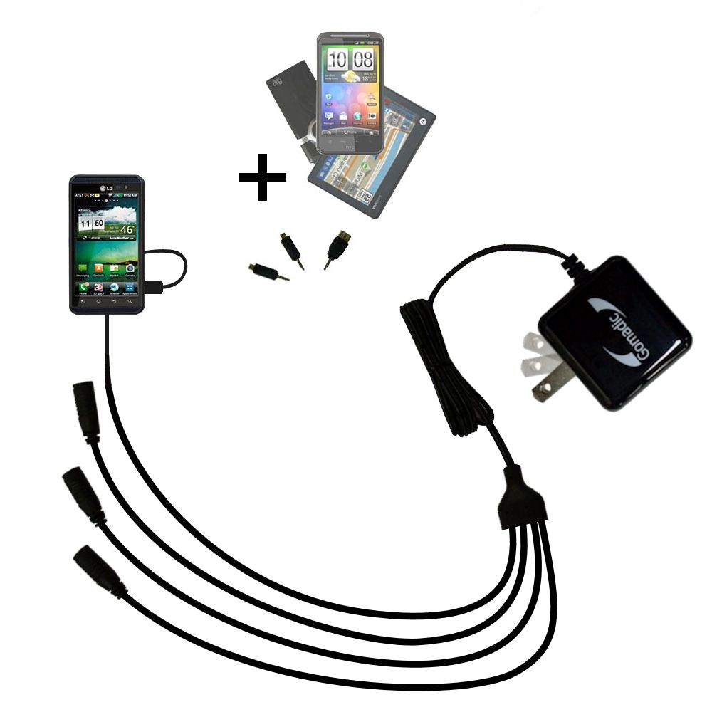 Quad output Wall Charger includes tip for the LG Thrill 4G