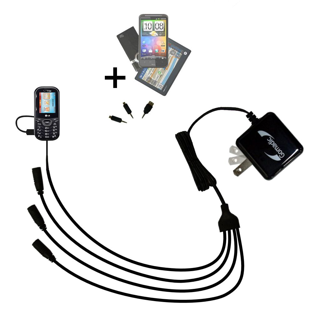 Quad output Wall Charger includes tip for the LG UN251
