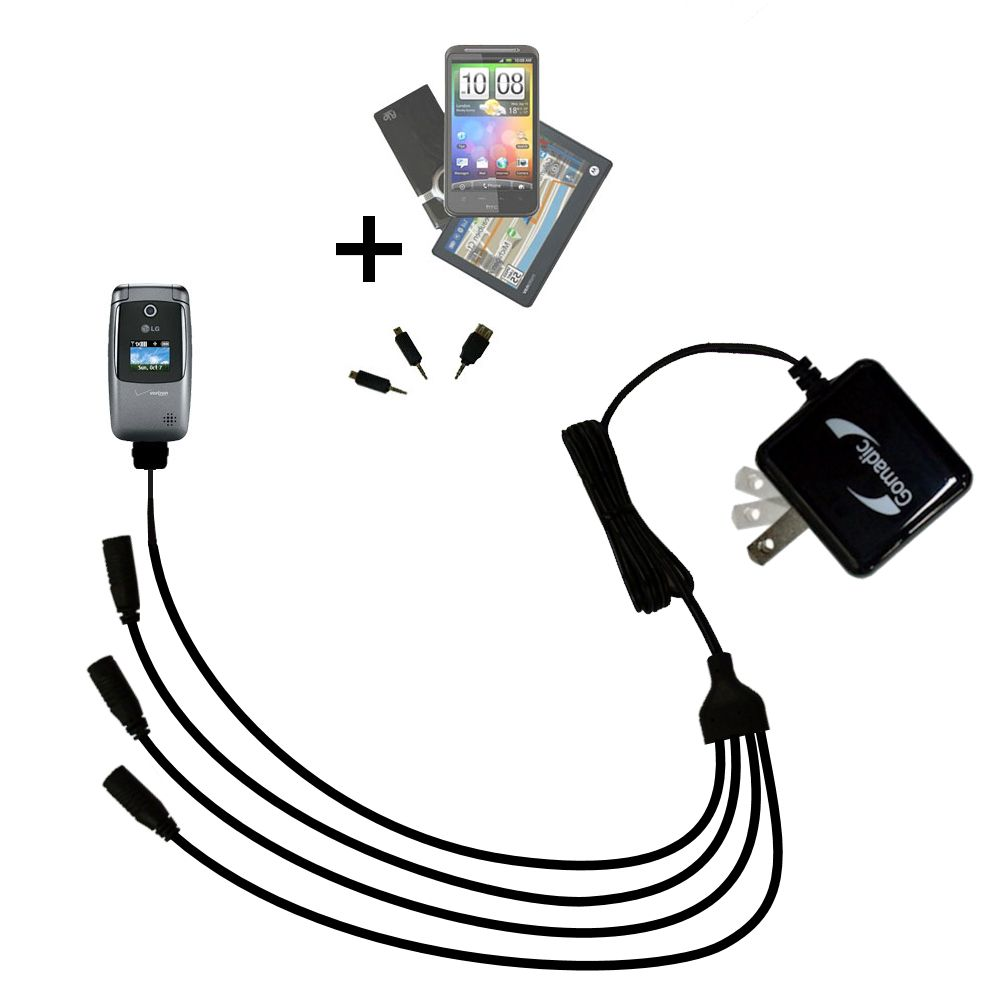 Quad output Wall Charger includes tip for the LG VX5400