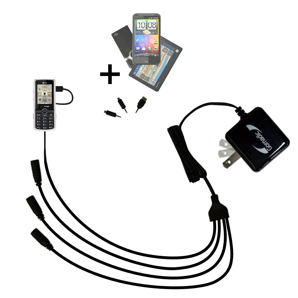 Quad output Wall Charger includes tip for the LG VX7100