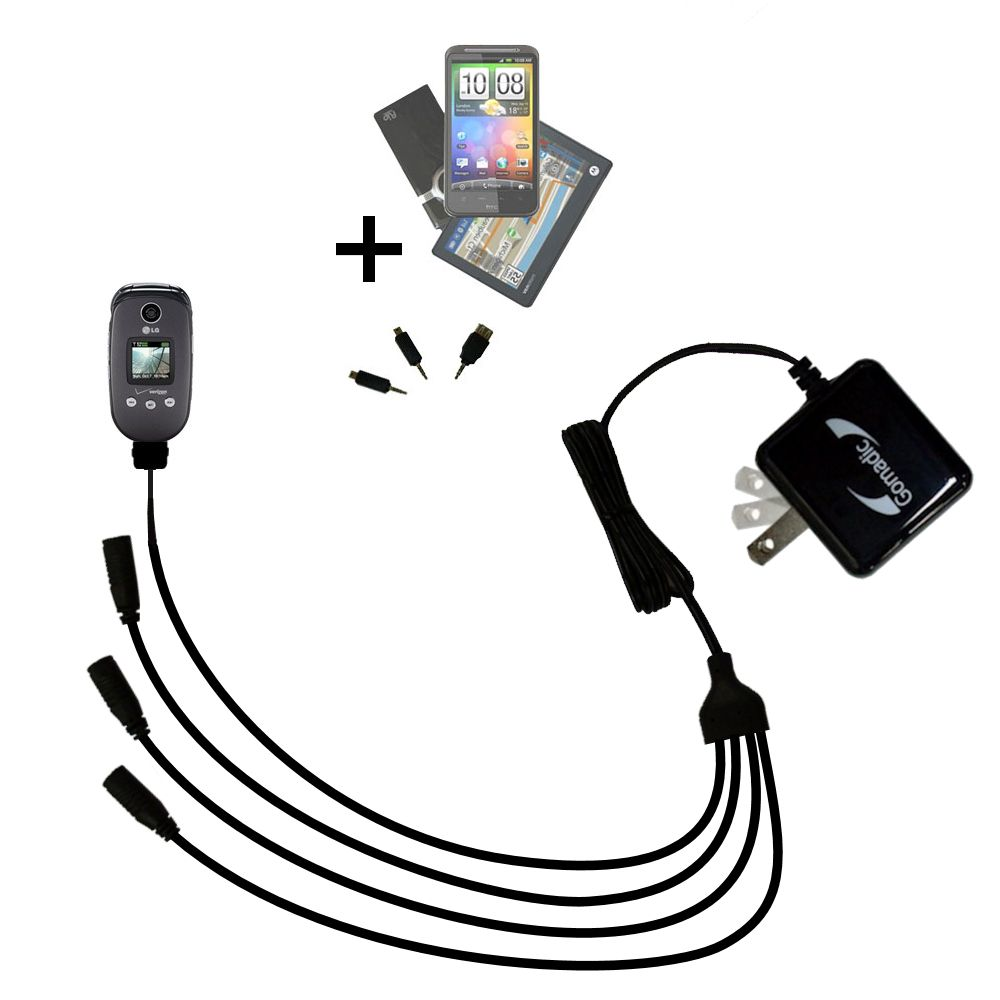 Quad output Wall Charger includes tip for the LG VX8350