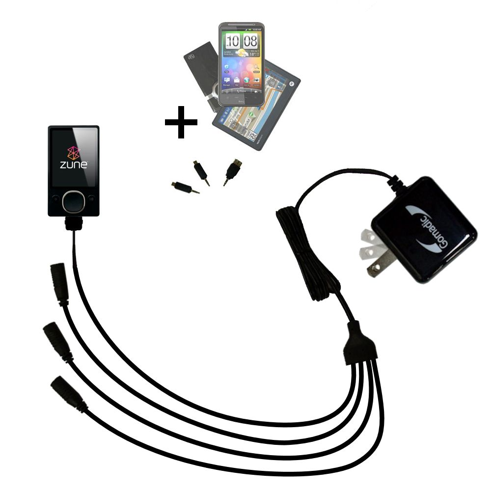 Quad output Wall Charger includes tip for the Microsoft Zune 8 / 12
