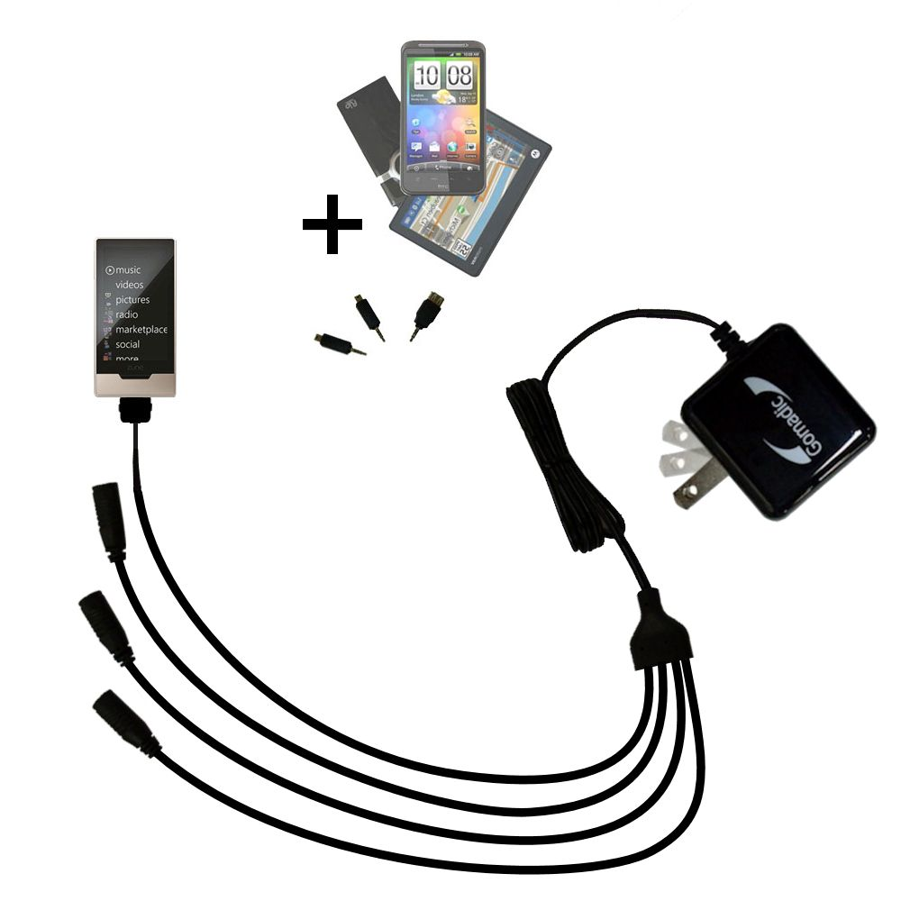 Quad output Wall Charger includes tip for the Microsoft Zune HD