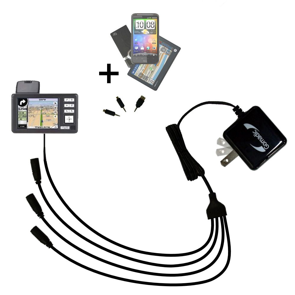 Quad output Wall Charger includes tip for the Mio 169