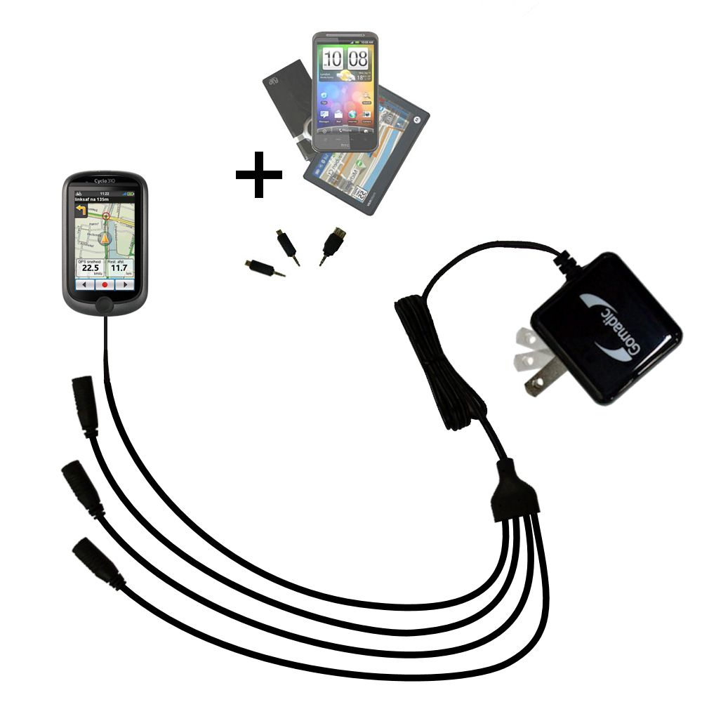 315 and uses TipExchange compact and retractable USB Power Port Ready charge cable designed for the Mio Cyclo 310