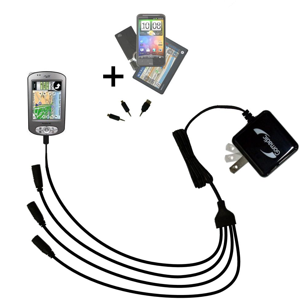 Quad output Wall Charger includes tip for the Mio P550