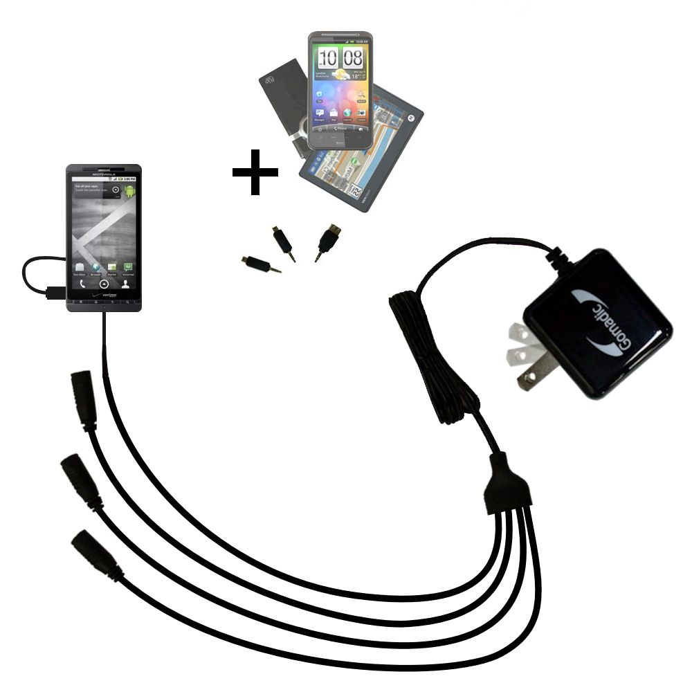 Quad output Wall Charger includes tip for the Motorola Droid X