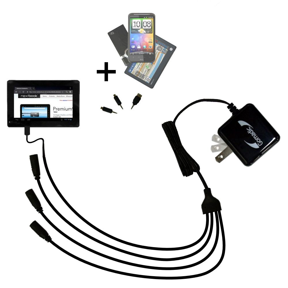 Quad output Wall Charger includes tip for the Nextbook Premium 7SE Next7P12