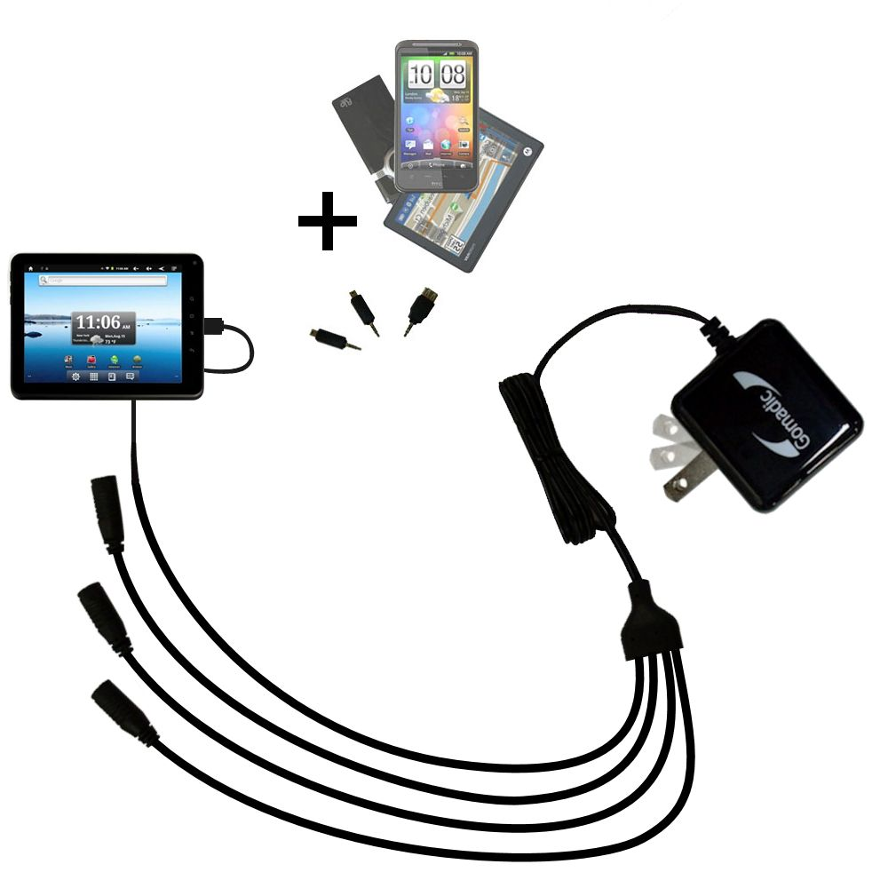 Quad output Wall Charger includes tip for the Nextbook Premium8 Tablet