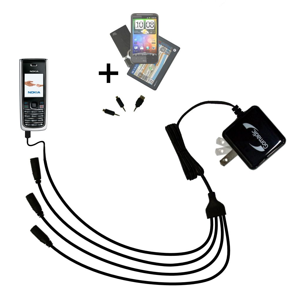 Quad output Wall Charger includes tip for the Nokia 2865i 3155i