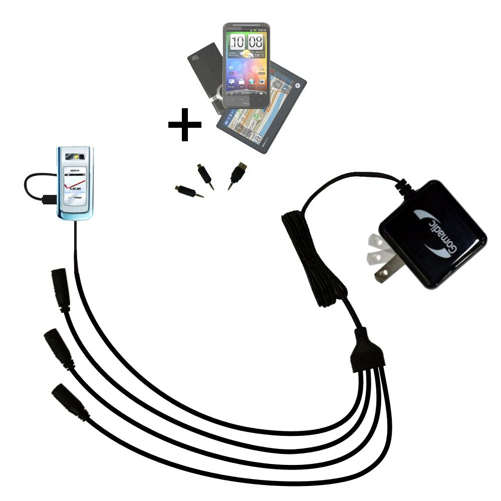 Quad output Wall Charger includes tip for the Nokia 6205